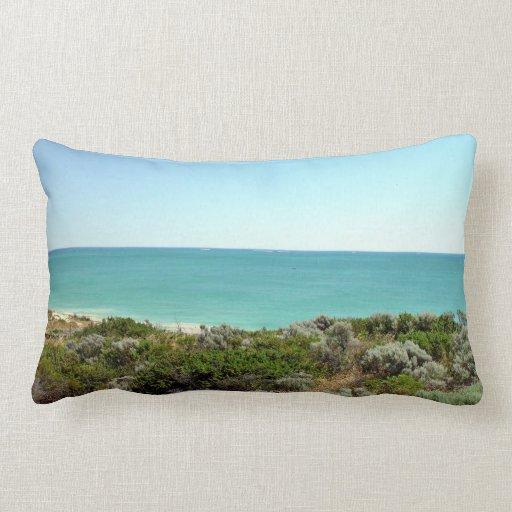 El paisaje del océano con las dunas y friega cojin