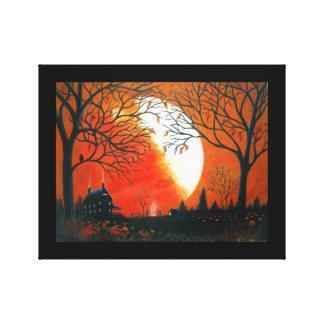 El paisaje del otoño, búho, luna, calabaza, burnin impresiones de lienzo