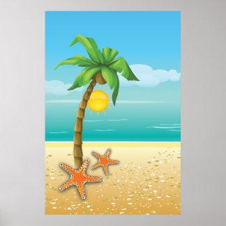 El paisaje tropical de la palmera y del sol imprim