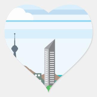 El paisaje urbano con vector del océano del mar de pegatina en forma de corazón