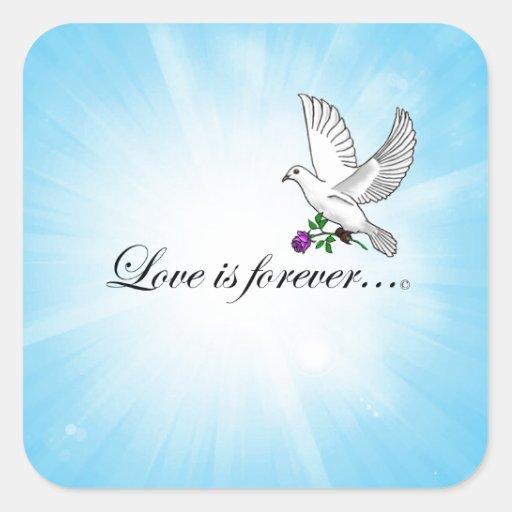 """El pájaro """"AMOR es Forever """" Pegatina Cuadrada"""
