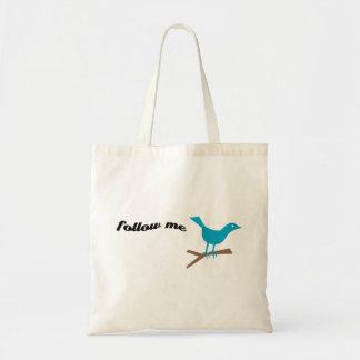 El pájaro azul del gorjeo me sigue bolso bolsa tela barata
