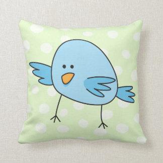 El pájaro azul divertido embroma el dibujo animado cojines