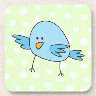 El pájaro azul divertido embroma el dibujo animado posavaso
