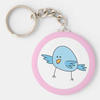 El pájaro azul divertido embroma la frontera anima llavero redondo tipo pin