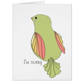El pájaro con lágrima lo siente tarjeta de felicitación grande