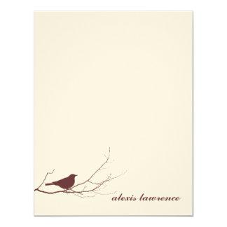 """El pájaro de Brown en ecru de la rama le agradece Invitación 4.25"""" X 5.5"""""""