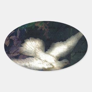 El pájaro de la canción trae paz calcomania oval