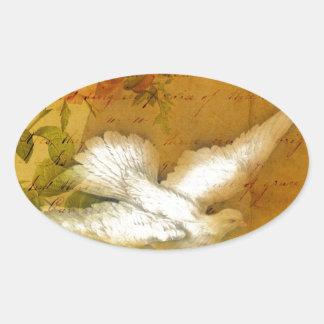 El pájaro de la canción trae paz calcomanía ovaladas personalizadas