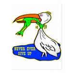 El pájaro de la obstrucción de la rana da nunca postal