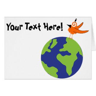 El pájaro de Swirly ahorra el mundo para la tierra Tarjeta
