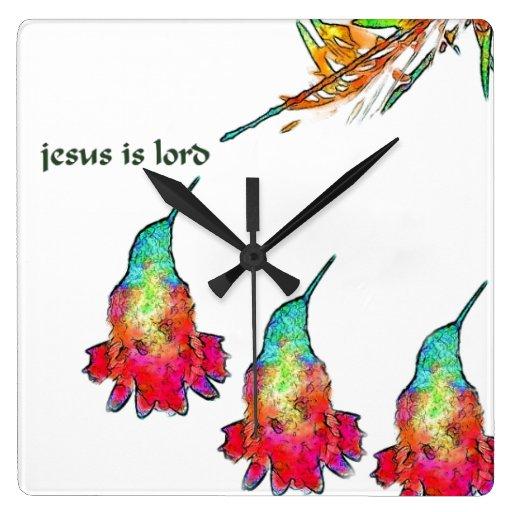 El pájaro del colibrí florece animales florales de reloj cuadrado