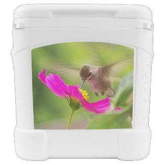 El pájaro del colibrí florece el refrigerador cofre nevera con ruedas
