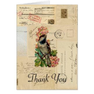 El pájaro del vintage florece a franceses le felicitacion