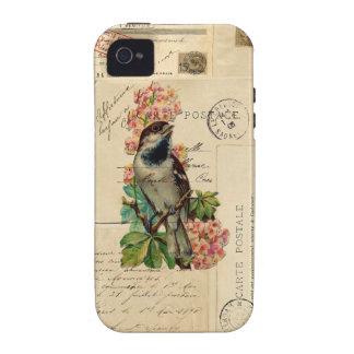 El pájaro del vintage florece la caja francesa de Case-Mate iPhone 4 carcasas