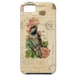 El pájaro del vintage florece la caja francesa de iPhone 5 fundas