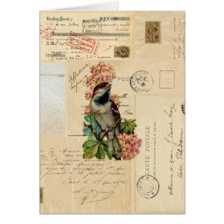El pájaro del vintage florece la tarjeta francesa