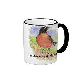 El pájaro divertido temprano consigue el petirroj taza de café
