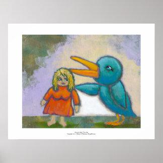 El pájaro gigante de la mujer jugó un arte único i posters