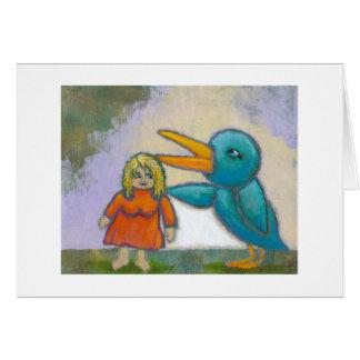 El pájaro gigante de la mujer jugó un arte único i tarjeton