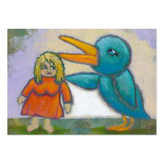 El pájaro gigante de la mujer jugó un arte único i plantilla de tarjeta de visita