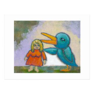 El pájaro gigante de la mujer jugó un arte único i postal