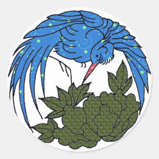El pájaro grande, verde sale del pegatina