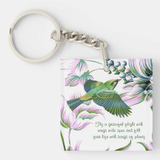 El pájaro hermoso vuela - personalizable - llavero