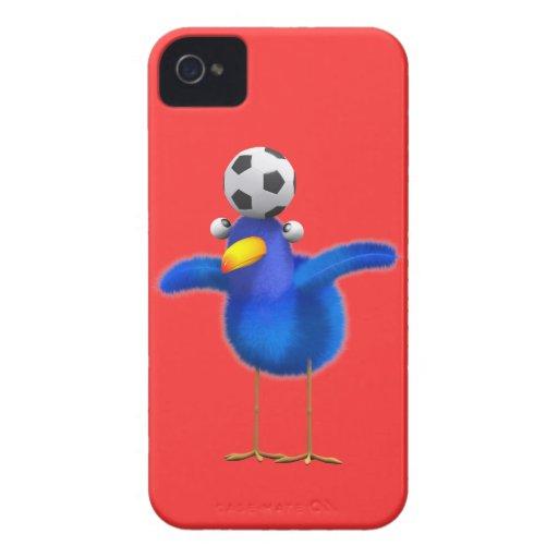 El pájaro lindo 3d juega al fútbol (editable) iPhone 4 cárcasas