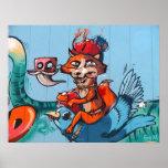 """""""El pájaro que monta arte de la pintada del Fox"""" Posters"""