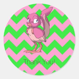 El pájaro reptil del yogur de la baya le agradece pegatina redonda
