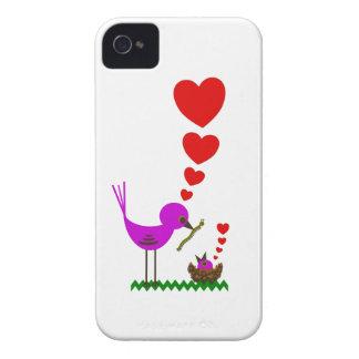 El pájaro rojo de Momma de los corazones ama el ca iPhone 4 Cobertura