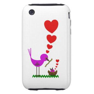 El pájaro rojo de Momma de los corazones ama el ca iPhone 3 Tough Carcasas