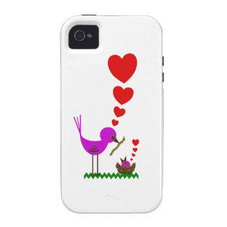 El pájaro rojo de Momma de los corazones ama el ca iPhone 4/4S Fundas
