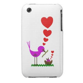 El pájaro rojo de Momma de los corazones ama el ca Case-Mate iPhone 3 Cárcasas