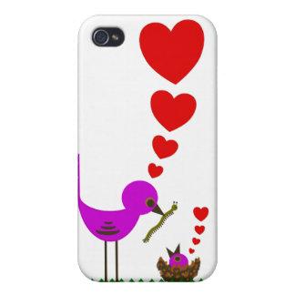 El pájaro rojo de Momma de los corazones ama el ca iPhone 4/4S Carcasas