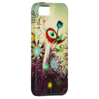 El pájaro rojo florece la lavanda iPhone 5 carcasas