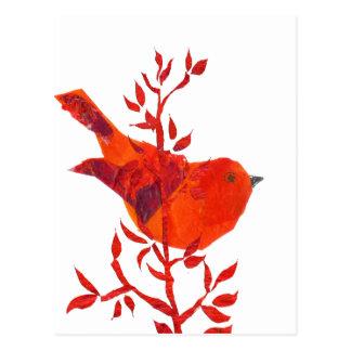 El pájaro rojo más lindo en el planeta postal