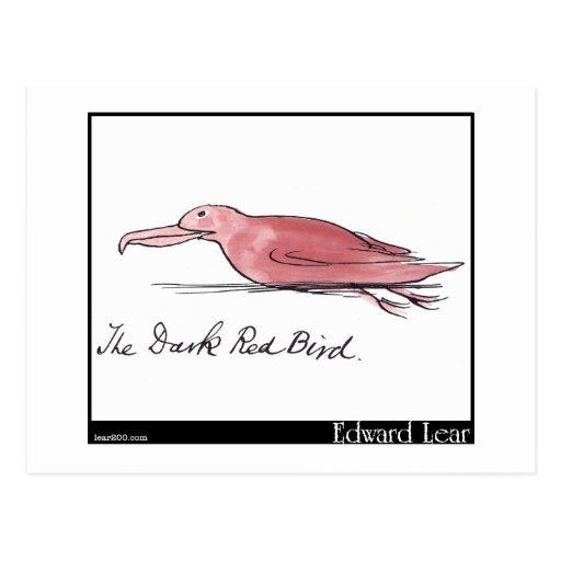 El pájaro rojo oscuro de Edward Lear Postal