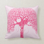 El pájaro rosado del amor del árbol de Swirly Cojines