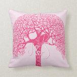 El pájaro rosado del amor del árbol de Swirly Cojin