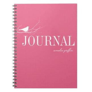 El pájaro se encaramó en el diario del personaliza spiral notebooks