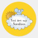 El pájaro Sun del niño usted es mi sol Etiquetas Redondas