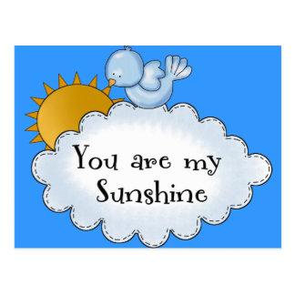 El pájaro Sun del niño usted es mi sol Tarjetas Postales