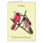 """El """"pájaro temprano coge a los cardenales del tarjeton"""