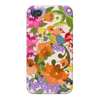 El pájaro tropical, damasco colorido florece y rem iPhone 4 carcasas