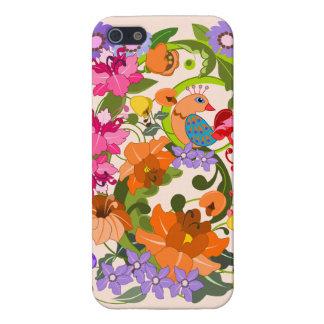 El pájaro tropical, damasco colorido florece y rem iPhone 5 carcasas