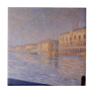El palacio de los duxes de Claude Monet Azulejo Cuadrado Pequeño