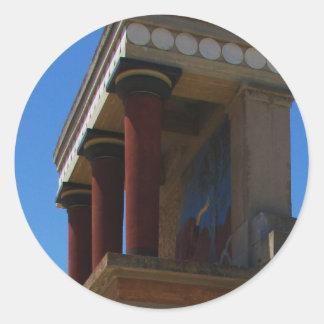 El palacio de Minoan de la fotografía de Knossos Pegatinas Redondas