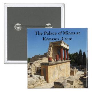 El palacio de Minos en Knossos, Creta, GRECIA Pin Cuadrada 5 Cm